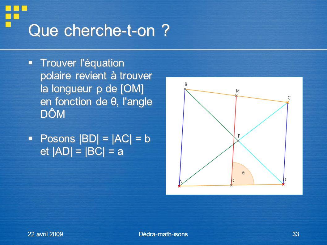 Que cherche-t-on Trouver l équation polaire revient à trouver la longueur ρ de [OM] en fonction de θ, l angle DÔM.